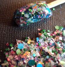 glitter mix acrylic gel nail art  EARTH