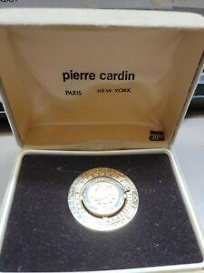 Vintage Taurus Money Clip Gold Plated Diamond Zodiac Signed Pierre Cardin in box