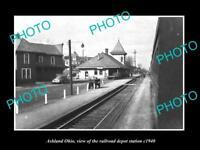 OLD LARGE HISTORIC PHOTO OF ASHLAND OHIO, THE RAILROAD DEPOT STATION c1940