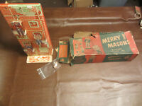 VINTAGE OLD 1950s WOLVERINE TOYS TIN  METAL MERRY MASONS SAND BEACH TOY IN BOX