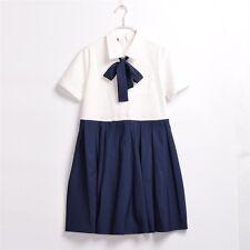 Girl's JK Uniform Dress Navy Detachable Bow Plated Short Sleeve Sailor Dress