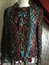 Sandy Starkman Beautiful Open Weave Colorful Jacket NWOT Size Med