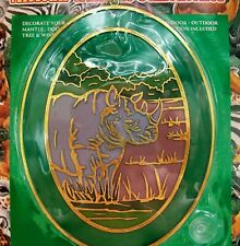 "Hermitage Pottery Large 9"" Oval Suncatcher, African Wildlife Rhino In River, New"