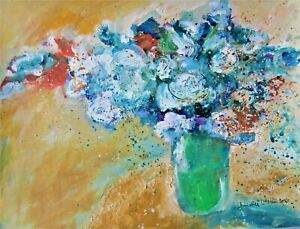 Original Acrylic Painting White Flowers in a Green Vase on Paper Still Life Art