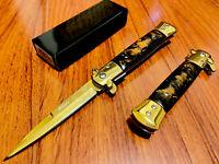 "9"" Golden Italian Milano Stiletto Spring Assisted Folding Pocket Knife. Survival"