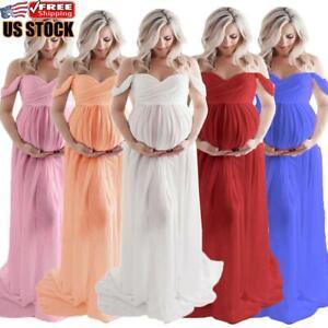 Pregnant Women Off Shoulder Lace Long Maxi Dress Maternity Prop Split Gown Dress