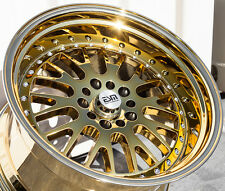 "18X11 +15 ESM 007 GOLD CHROME 5X114.3 WHEEL 5X4.5 5X120 4"" LIP AGGRESSIVE STANCE"