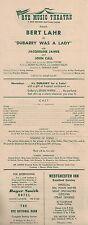 """Bert Lahr """"DU BARRY WAS A LADY"""" Cole Porter / Jacqueline James 1959 Broadside"""