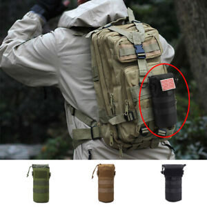 Tactical Military Molle Foldable Pouch Water Bottle Holder Carrier Bag W/ Cover