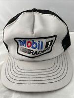 Vintage Mobil 1 Racing Nascar Snapback Mesh 80s Trucker Hat Made In USA Nice