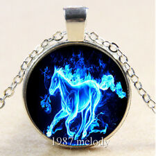 New Cabochon Glass Silver/Bronze/Black Chain Pendant Necklace ice horse