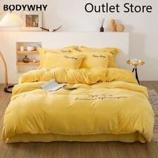 Bedding Set Letter Embroidery Crystal Velvet Duvet Cover Flannel Bed Sheet Linen
