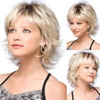 Fashion Women Short Wavy Curly Pixie Cut Wig Bob Heat Resistant Blonde Hair Wig