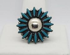 New ListingBells Trading 925 Sterling Silver Native Turquiose Symmetry Flower Pin Brooch
