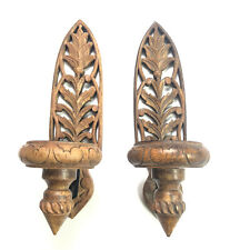 VTG WOODEN WALL SCONCES/ PAIR HAND CARVED WALL CANDLE HOLDERS/ DÉCOR