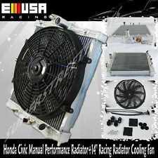 """93 94 95 96 97 Honda Civic Del Sol 2 Core Radiator +14"""" Racing Radiator  Fan"""