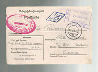 1944 Germany to England Army POW Camp Postcard Cover Stalag 4B Artillery Paymast