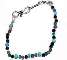 "Multi Gemstone Rondelle Faceted 3-4 mm Beads 8"" Fine Bracelet HGT-552"