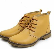 Leather Ankle Boots for Women Lace Up Casual Oxfords Shoes Combat Boots FEETMART