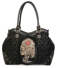 Gothic Cameo Skull & Rose Skeleton Flocked Handbag Shoulder bag by Banned Black