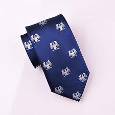 White German Eagle Phoenix Blue Tie 8cm Necktie Novelty Bird Luxury Fashion Boss