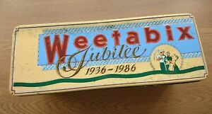 Retro WEETABIX Jubilee Storage Tin 1936-1986 Embossed Hinged Lid WITH THE INLAY!