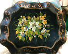 Antique Victorian Tole Tray Big  Easter Lily Hand Painted Incredible Detail  Art