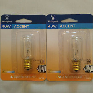 LOT OF 2 WESTINGHOUSE 40 WATT INCANDESCENT BULB FOR MICROWAVE 40W T8 E17 03719