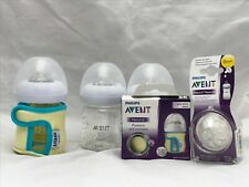 Lot of AVENT Bottles & Supplies 4 oz Glass Bottles, Silicone Sleeves & Nipples