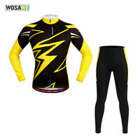 Men Team Cycling Bike Bicycle Clothing Suit Long Sleeve Jersey&Padded Pants Set