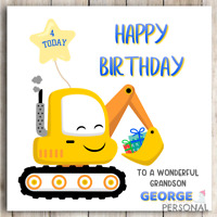 Digger Birthday Card Personalised for Son Grandson Nephew Brother Godson Boys