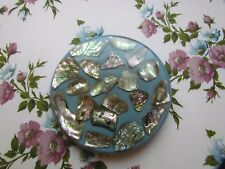 Vintage Acrylic Hotplate Trivet Decoraed With Abalone Shells