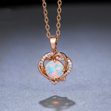 Rose Gold Plated Double Love Design Oval White Fire Opal Necklace Pendants