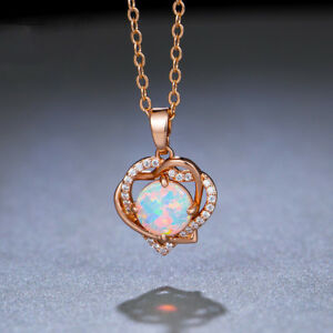 Double Love Design Rose Gold Plated 925 Silver White Fire Opal Necklace Pendants