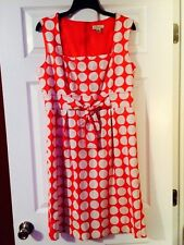 NWTS!!  KIM ROGERS PINK & WHITE POLKA DOT TIE FRONT DRESS!!  SIZE 14.