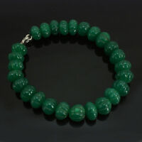 Jaipur Jewels - 285.00 CT EARTH MINED GREEN EMERALD MELON CARVED BEADS BRACELET