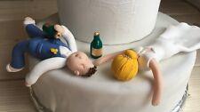 Personnalisé ivre Bride & Groom Wedding Cake topper humour drôle figurines d'argile