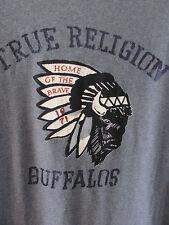 True Religion Buffalos Home of the Brave Graphic Tee Shirt-Gray-Mens Med-NWT $78