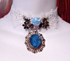 ALICE IN WONDERLAND CHOKER white/blue lace flowers necklace bronze floral NEW K3