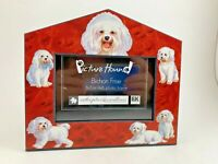 PICTURE HOUND BICHON FRISE PICTURE FRAME CARDBOARD STAND UP 3x5 OR 4X6 PHOTOS