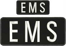 ems embroidery patches 4x10 and 2x5   hook on back white