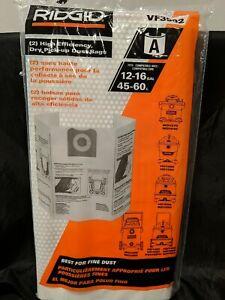 2 Pack Ridgid VF3502 High Efficiency, Dry Pickup Dust Bags
