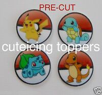 12 PRE CUT POKEMON EDIBLE RICE WAFER PAPER CARD BIRTHDAY PARTY CUPCAKE TOPPERS 2