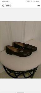 Authentic GUCCI Mens Shoes Brown Loafers EU 44.5 US 10.5