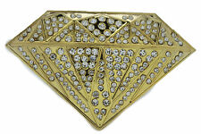 New Men Belt Buckle Cowboy Western Fashion Big Gold Diamond Silver Rhinestones