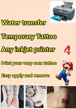4x tattoo Papel De Transferencia A4 Hoja tatuaje temporal transferibles con agua