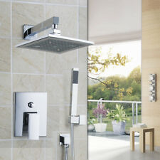 "Chrome Bathroom Shower Faucet Set 8"" Rain Shower Head+Handsprayer Square Value"
