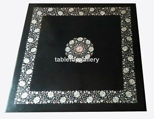 """32"""" Black Marble Top Square Coffee Table Mother of Pearl Floral Inlay Decor B122"""