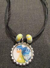 Black Ribbon Bottle Cap Bling Charm Necklace Beads Inside Out Sadness Joy Friend