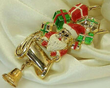 Cute Holiday Santa Bell Enamel Vintage 70's Brooch 253M6